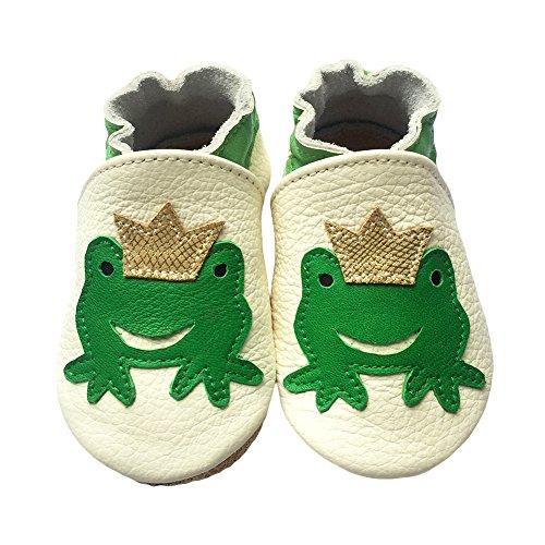 Freefisher Lauflernschuhe, Krabbelschuhe, Babyschuhe - in vielen Designs, Grün Frosch mit Kaiserkrone auf Weiß, 6-12 Monate