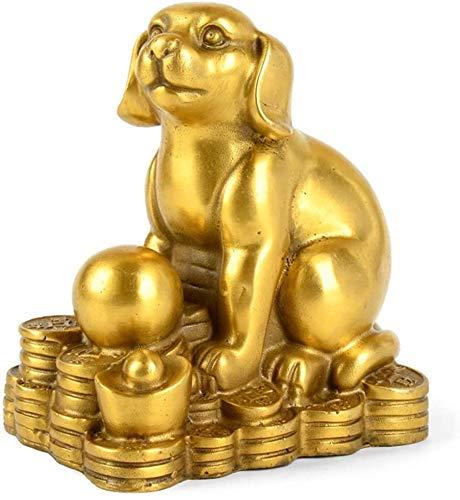 LULUDP-Decoración Latón Figurines Feng Shui Estatua del Ornamento Chino Vaca Animal del Zodiaco/Tiger/Conejo/dragón/Serpiente/Caballo/Oveja/Escultura del Mono/Pollo/Perro/Cerdo Fig