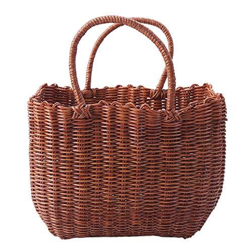 FIONAT Cesta de Picnic de Compras de Mimbre de plástico Tejido Natural para Almacenamiento de Frutas y Verduras Willow Shopping Basket-S