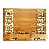 Choiserie - Porta libros de madera exquisita, cincelada ajustable, soporte para lectura, escritura, documentos, tableta, atril para iPad