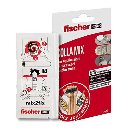 Fischer Kleber Mix NTJH für Bad und Küche in Einzelkomponenten-Beutel, ideal zum Kleben von Zubehör auf Fliesen, kein Werkzeug erforderlich, kein Bohren nötig, 552166, weiß