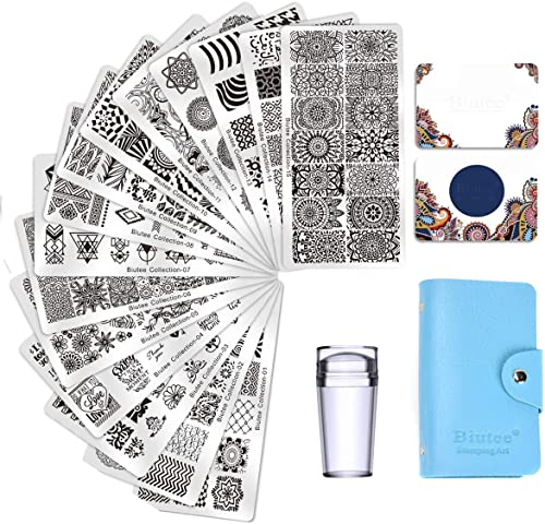Biutee Nail Art Stamping 15pcs PlacasEstampacionUñas para Manicura +1pcs Sello de Silicona +2...