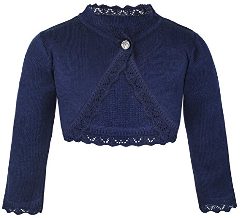 Lilax Little Girls' Knit Long Sleeve Button Closure Bolero Cardigan Shrug 8 Navy