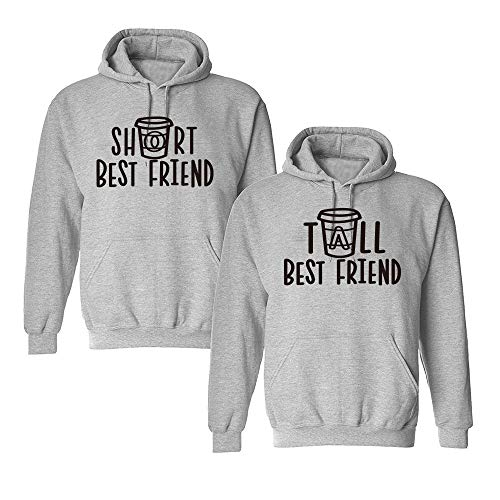 Mixcept Beste Freunde Pullover Best Friends Hoodie BFF Pullover Sister Kapuzenpullover Damen Pulli 1 Stück -Grau-Tall-S