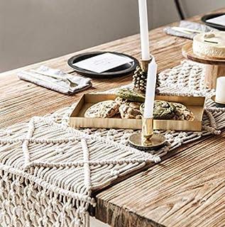 Macrame Table Runner Woven Wedding Table Decor Handmade Boho Table Linen with Tassels Vintage Farmhouse Home Decoration fo...
