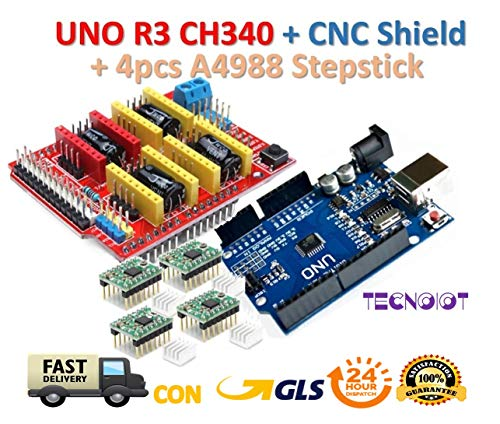 【3D printer kit】 CNC Shield V3.0 + UNO R3 Board + 4pcs Stepper motor controller A4988 with heat sink for 3D printer | 【Kit stampante 3D】 Scheda CNC Shield V3.0 + UNO R3 con cavo USB + 4pcs Controller motore passo-passo A4988 con dissipatore di calore per stampante 3D