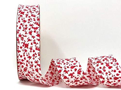 Fany Cinta al bies blanca con motivos florales rojos, 30 mm, 2 m de longitud (nota: se ha cortado de un rollo)