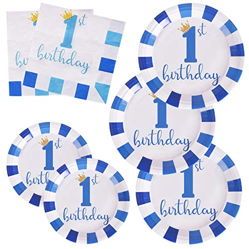 200Pcs Boys First 1st Birthday Paper Plates and Napkins Dessert Disposable 9 inch 7 inch Blue Decorations Party Supplies for Kids Boy (for 1st Birthday Blue)