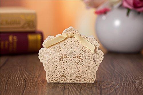 vstoy dragées mariage bonbons boîte cadeau avec carte Invitation & # nitrure ; 20) doré