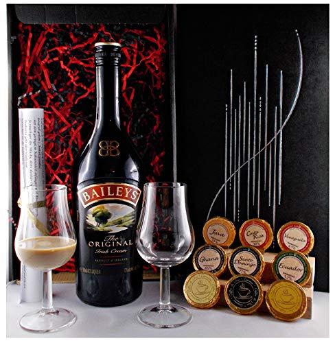 Geschenk Baileys Original Irish Cream Likör + 2 Likörgläser + 9 Schokoladen in 9 Sorten