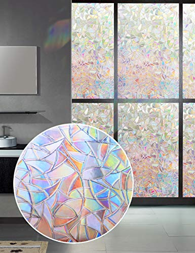"""Window Film 3D Decorative Privacy - Static Cling Glass Window Sticker Non-Adhesive No Glue Heat Control Anti UV Light Blocking for Home Kitchen Bathroom Office Meeting Room Living Room(17.7""""x78.7"""")"""