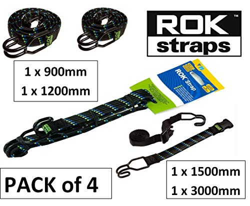 ROK All Purpose Heavy Duty Bungee Straps met haken (MIX PACK van 4) 90025|120025|150025A|300025A Flat Cargo Stretch Strap