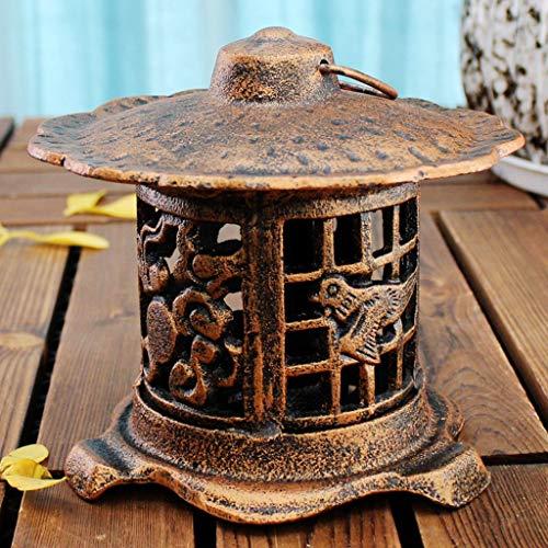 CKH Retro Nostalgische Europese Gietijzer Ronde Lamp Brons Smeedijzer Creatieve Kaarsenhouder Ornamenten Lantaarn Wandopknoping Kandelaar