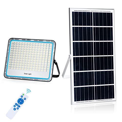 LEDMO Faro Solare LED Esterno 200W 6500K Bianco IP67 Impermeabile Faro LED Esterno Pannello Solare con Telecomando