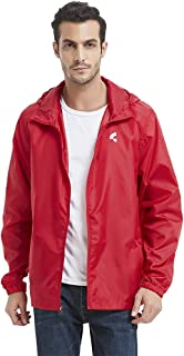 Somewell Waterproof Hooded Rain Jacket, Men's Windbreaker Outdoor Lightweight Packable Raincoat(6 Colors S-5XL)