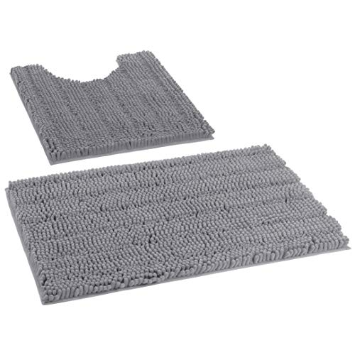 "Grandaily Extra Thick Luxury Striped Shaggy Chenille Bath Rug Set 2 Piece for Bathroom, Fluffy Non-Slip Washable Absorbent U Shape Contour Rug and Bath Shower Mat 20"" x 24"" U Plus 20"" x 32"", Gray"