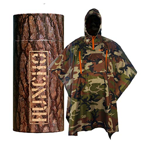 Rain Poncho with Breathable Zippers and Chest Pocket. Woodland Camo....