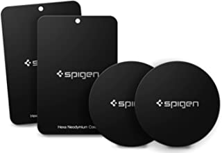 Spigen Kuel A210 Metal Plates for Magnetic Car Mount Phone Holder (QNMP) [4 Pack - 2 Round, 2 Rectangle] - Black