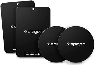 Spigen Kuel MP4-P Metal Plates for Magnetic Car Mount Phone Holder QNMP Compatible (4 Pack - 2 Round, 2 Rectangle) - Black