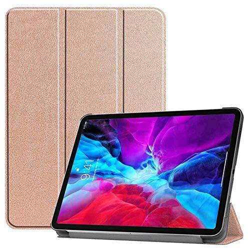 QINYUP para iPad Pro 12.9 4.a Funda de Cuero Inteligente de 11 Pulgadas (2020) con portalápices-Oro Rosa 12.9 2020