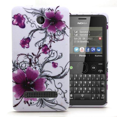 Accessory Master 5055716366532 Design Blumen Silikon Gel Tasche für Nokia Asha 210 lila