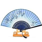 Abanico de bambú de seda, plegables, (diseño de mariposa voladora y flores), fundas de seda y caja de regalo incluida.