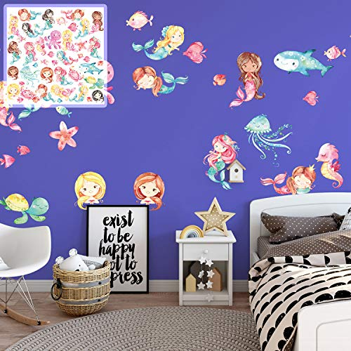 XXL Wandtattoo Meerjungfrauen mermaid Set verschiedene Motive| Kinderzimmer Aufkleber bunt Wanddeko Meerjungfrauen mermaid