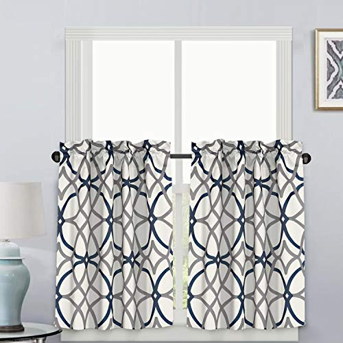 """Blackout Kitchen Curtains Energy Saving Ultra Soft Kitchen Half Window Curtains, Rod Pocket Window Curtain Tiers for Café, Laundry, Bedroom, Sold 2 Panels (Each 29"""" x 36"""", Grey/Navy)"""