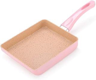 Baking Pan Flat Bottom Non-stick Pan, Thick Rice Stone Square Baking Pan, Portable Breakfast Cooker Dedicated (Color : Pink)