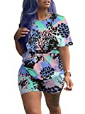 Women Cute Animal Printed Short Sleeve Tee Matching Bodycon Shorts Sport Jogger Set Outfit...