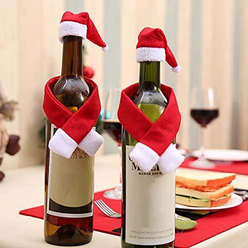 SOQNVLN Fundas para Botellas De Vino Navideñas, Bolsas Protectoras para Botellas De Vino para La Mesa, Papel De Regalo, Decoraciones para Fiestas Navideñas. Un Set
