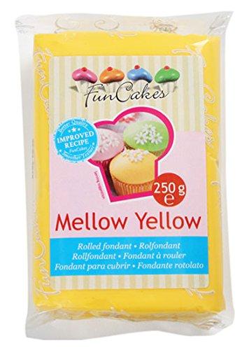 FunCakes Fondant para Cubrir Tartas, Cupcakes, Galletas o Modelar Amarillo Suave: Suave Sabor Vainilla, Flexible, Sin Gluten, Halal, Kosher D, Apto Véganos, 250g, FC97600