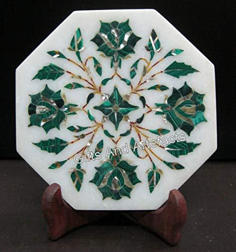 Tetera octágono blanco de 5 pulgadas Cum Kettle Stand Inlay Work Malaquita Floral Design Royal Home Decor Regalo