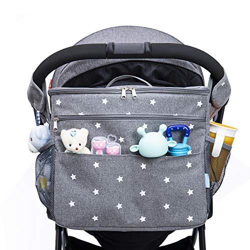 Orzbow Bolso Carro Bebé Universal, Gran capacidad Bolsa Organizadora de Cochecitos, Almacenamiento de Pañales bolsa de mensajero o un Bolso de mano y mochila para Mamá - 35 x 31 x 19 cm (Gris)
