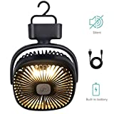 REENUO Portable Camping Lantern with Tent Ceiling Fan, Rechargeable 4400mAh Battery Powered Tent Fan, Hurricane Emergency Survival Kit (Max Working Time 40 Hours)