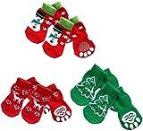 Calcetines para mascotas Calcetines para perros Protector de patas - 4 juegos de calcetines de algodón anticaídas para mascotas, perros, cachorros, gatos, con patrón navideño, talla XL (hombre de ni