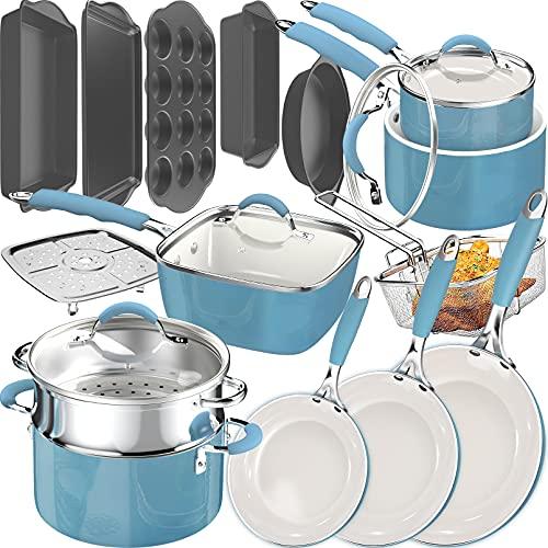 dealz frenzy 20 Piece Pots and Pans Complete Kitchen Cookware + Bakeware Set, Nonstick Ceramic Coating, Frying Pans, Skillets, Stock Pots, Sauce Pan, Deep Square Fry Basket Cookie Sheet & Baking Pans