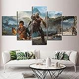 XLST Wandkunst Zuhause Dekoration HD Gedruckt 5 STK Gott des Krieges Kratos Spiel Gemälde Modern Poster Segeltuch Modular Bild Für GIF,A,30X50X2 30X70X2 30X80X1