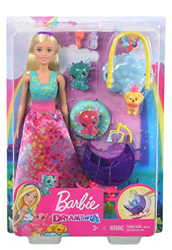 Barbie Dreamtopia Dragon Nursery Playset with Barbie Princess Doll, Baby Dragons, Cradle and Accessories, Multi
