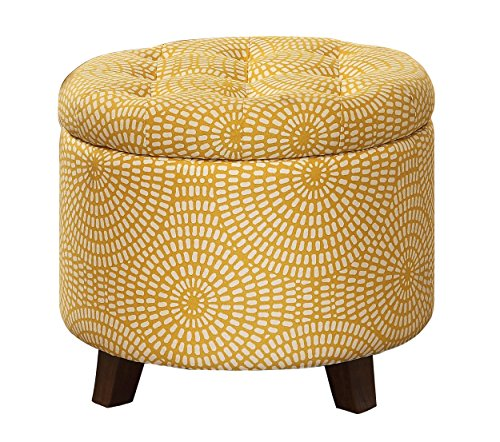 Homelegance Cleo Round Storage Accent Ottoman with Button-Tufted Geometric Design, Yellow