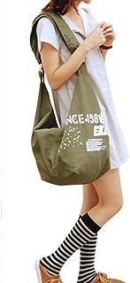JIAHG Damen Canvas Umhängetasche Handtasche Mädchen Crossover Bag Schultertasche für Arbeit Alltag Schule Wandern Einkaufe...
