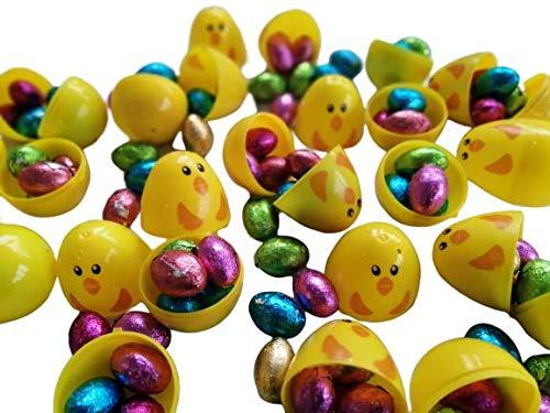16 Gele kuiken Plastic Verrassing Eieren Compleet met 500g Effen Chocolade Verijdelde Paaseieren