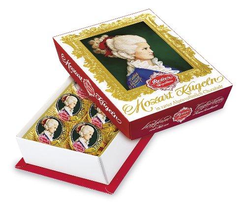 Reber Constanze Mozart-Kugeln, Pralinen aus Alpenmilch-Schokolade, Marzipan, Nougat, Tolles Geschenk, 2 x 6er-Packungen