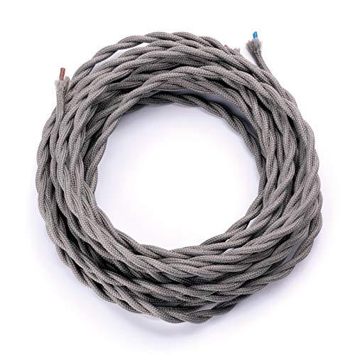 Cable de tela trenzado, cable de plástico, cable de alimentación de 2 hilos, 2 x 0,75 mm², accesorio para lámpara