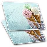 Pegatinas rectangulares impresionantes (juego de 2) 10 cm – heladería para conos, para portátiles, tabletas, equipaje, chatarra, neveras, regalo fresco #16690