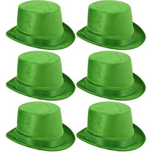 6 x Green Velour Top Hats St Patrick's Day Adults Fancy Dress Costume Accessory