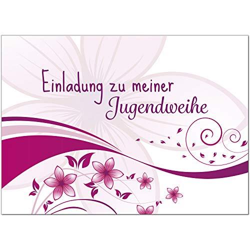 15 x Einladungskarten zur Jugendweihe mit Umschlag/Rosa Blumenmuster für Mädchen/Jugendweihekarten/Einladungen zur Feier