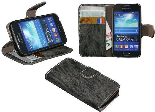 ENERGMiX Elegante Buch-Tasche kompatibel mit Samsung Galaxy Ace 3 (S7275) in Anthrazit Wallet Book-Style