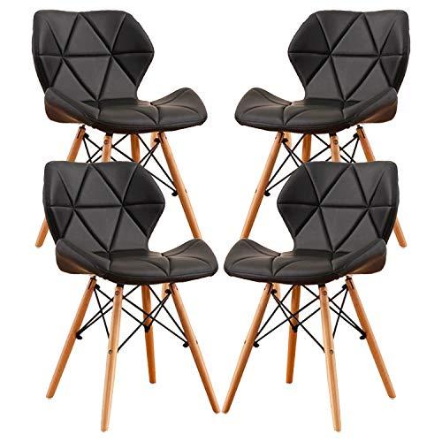 MIFI 4er Set Esszimmerstühle Moderne Gepolsterte Esszimmer, Eiffel-Stil Esszimmerstühle aus Holz, Holzstühle Holzbeine für das Home-Office-Dressing Stuhl Esszimmerstuhl (Schwarz)