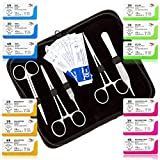 Mixed Suture Threads with Needle Plus Tools - Medical Student's Suture Kit, Practice Suturing; Surgical Training, First Aid Emergency Demo (12 Mixed Sutures 2-0,3-0,4-0 w 12 Tools) 24PK Total